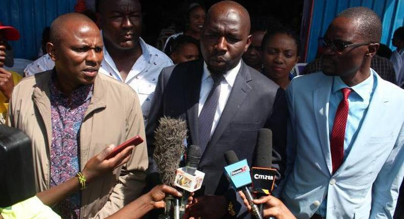 File image of Elgeyo-Marakwet Senator Kipchumba Murkomen (Centre) Kikuyu MP Kimani Ichungwa (left) and Kimilili MP Didmus Barasa