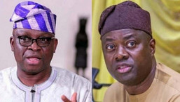 Former Ekiti state Governor, Ayodele Fayose (L) and Governor Seyi Makinde of Oyo state (R).
