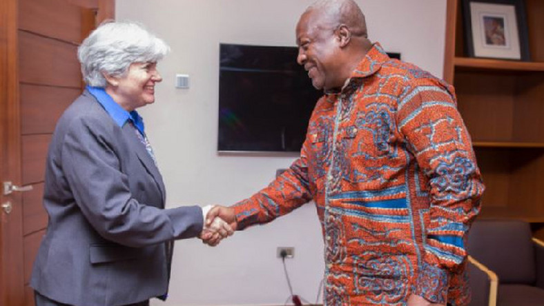 John Mahama and US Ambassador to Ghana, Stephanie S. Sullivan