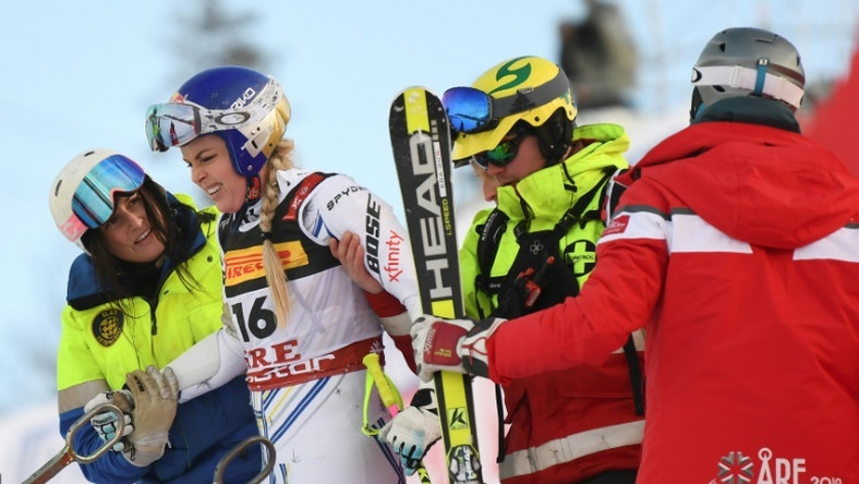 Lindsey Vonn was helped to her feet after careering into the safety netting