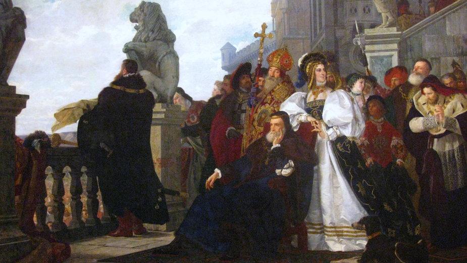 """Obraz """"Wojna kokosza"""" namalowany przez Henryka Rodakowskiego - domena publiczna"""