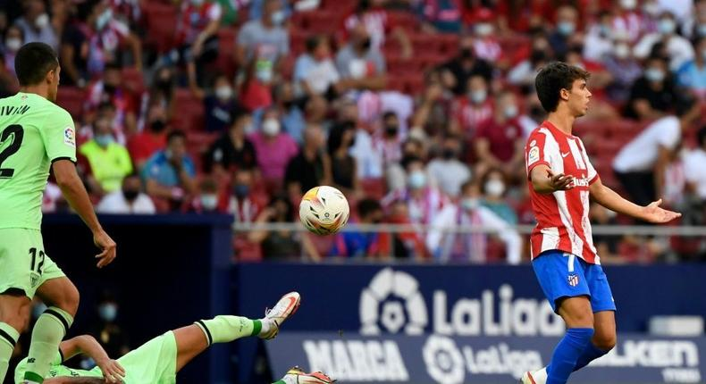 Joao Felix was sent off in Atletico Madrid's goalless draw with Athletic Club on Saturday. Creator: PIERRE-PHILIPPE MARCOU
