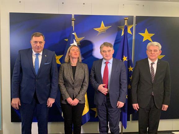 Dodik Komsic i Dzaferovic sa Mogerini