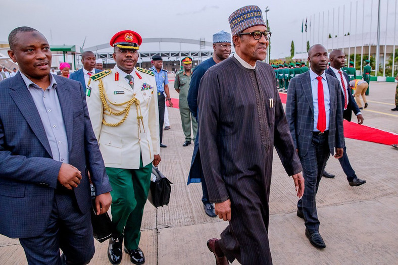 President Buhari arrives Abuja, after a 10-day private visit to the United Kingdom (Twitter @MBuhari)