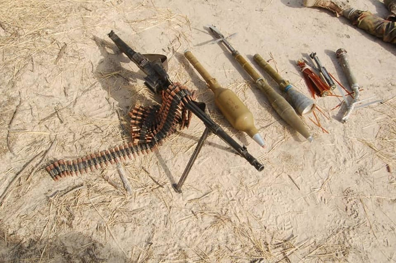Arms and ammunition recovered from the terrorists [Facebook/HQ Nigerian Army]