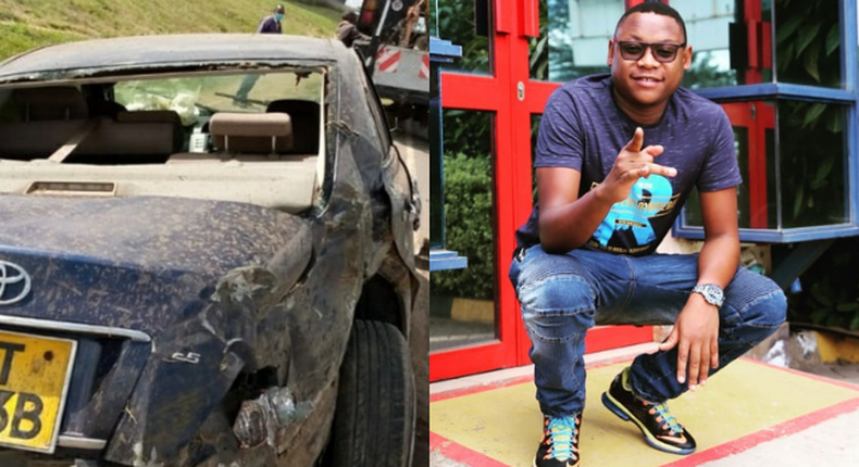 Radio Maisha Presenter Clemmo survives grisly Road accident with Family (Photos)