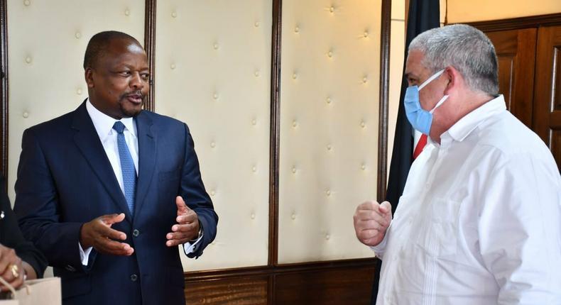Health CS Mutahi Kagwe and Cuba Ambassador to Kenya, Ernesto Gómez Díaz