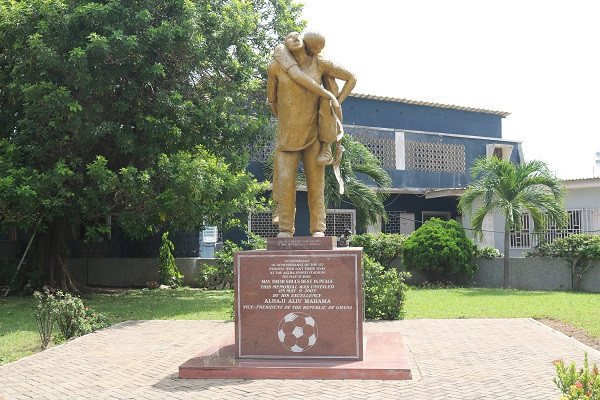 A statue erected outside the Accra sports stadium in memoriam of the lost souls
