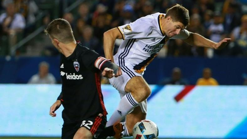 Steven Gerrard (right) on the ball for Los Angeles Galaxy against D.C. United in Carson, California