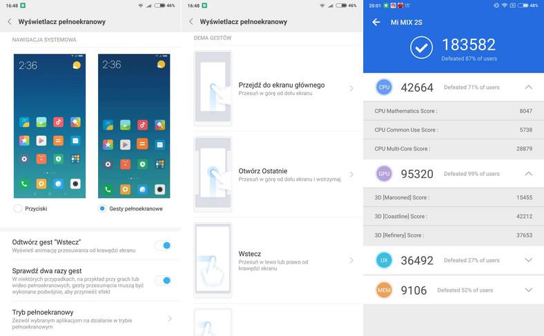 Xiaomi Mi Mix 2s - gesty, AnTuTu Benchmark