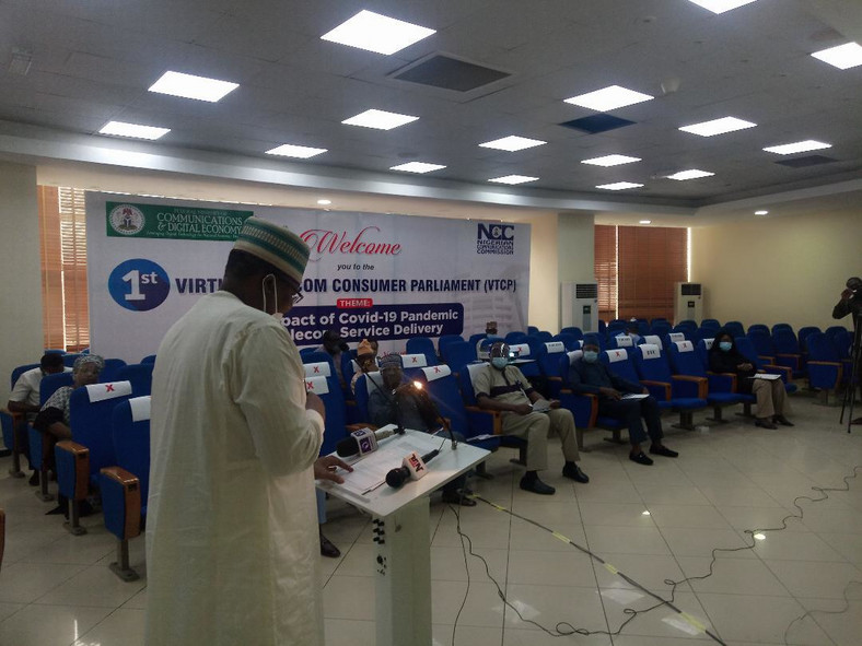 NCC boss, Umar Garba Danbatta delivers opening speech at the 1st virtual Telecom's Consumer Parliament (TCP). [Twitter/@NgComCommission]