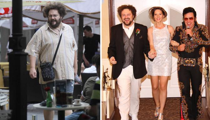 Marko Kon pre i posle dijete, sa suprugom Milicom na venčanju u Las Vegasu