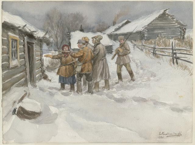 """""""Uoči pretrage i zaplene"""" iz serije akvarela o ruskoj revoluciji Ivana Aleksejeviča Vladimirova 1920."""