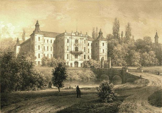 Pałac w Rydzynie na dawnej rycinie