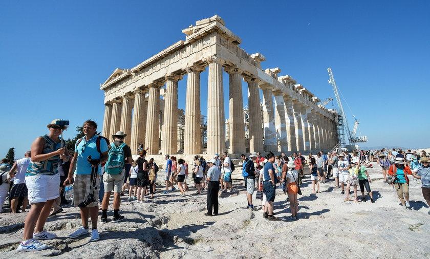 Akropol, Grecja, turyści, turystyka, wakacje