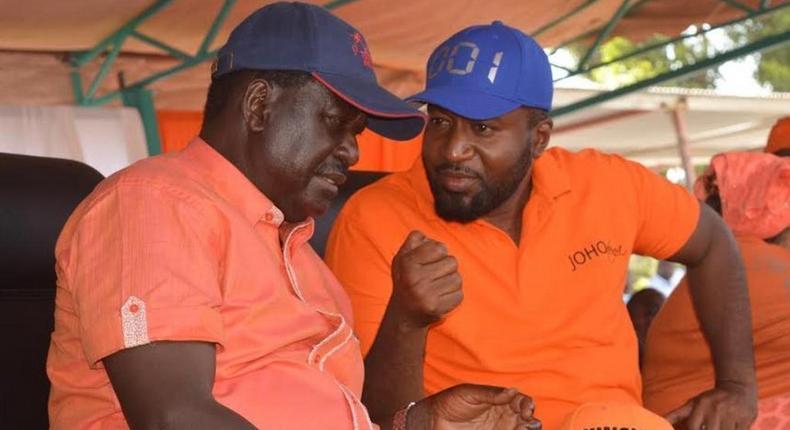 File image of Mombasa Governor Hassan Joho with Raila Odinga