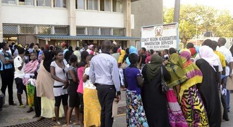 File image of a crowd outside the Regional Immigration offices in Mombasa. Four people who identified themselves as immigration officials, picked Paul Topf from his Lungalunga, Kwale County on November 26