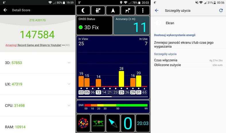 Axon 7 - AnTuTu Benchmark, test GPS, czas pracy baterii
