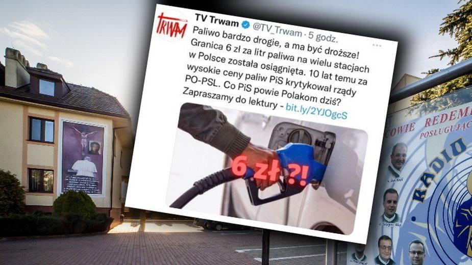 Telewizja Trwam usuwa materiał. Chodzi o krytykę PiS za drogie paliwo