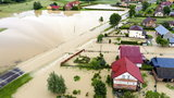 Powódź na Podkarpaciu. Podtopienia domów, zerwany most i zalane drogi