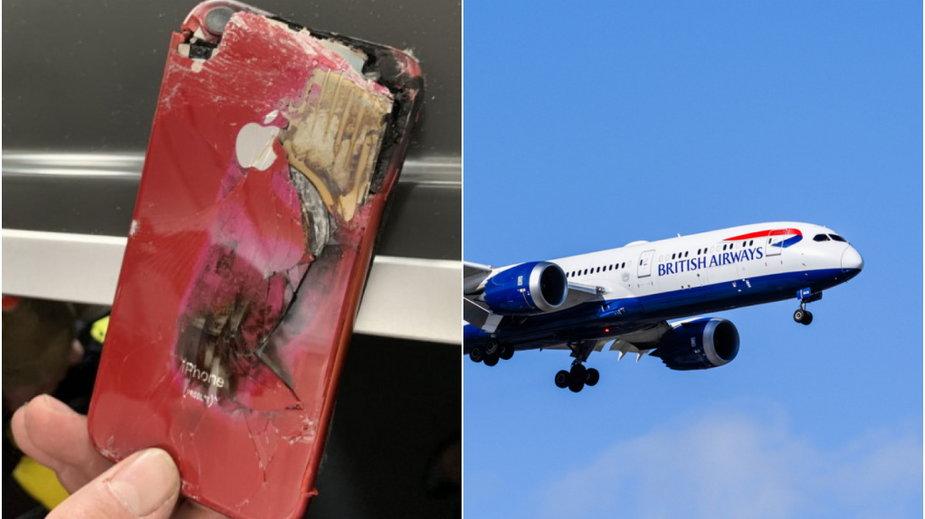 Pożar telefonu na pokładzie samolotu