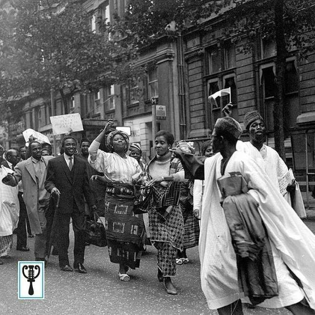 The photo shows Nigerians celebrating the first ever Independence day in London (Credit - The Guardian)