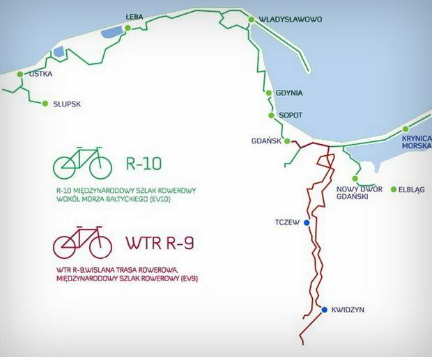 Mapa schematyczna Pomorskich Tras Rowerowych