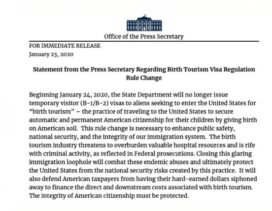 The statement that announced the rule change in birth tourism.
