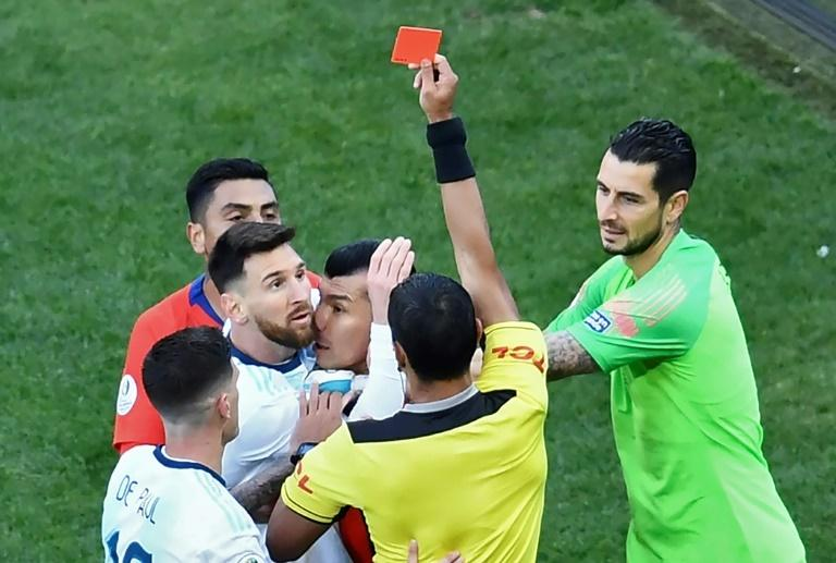 Messi was shown only the second red card of his career against Chile, and his first since his international debut against Hungary in 2005