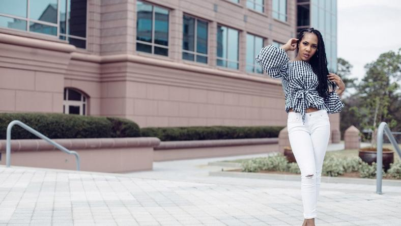 Hadiza Lawal does detailed shirt over white distressed denim