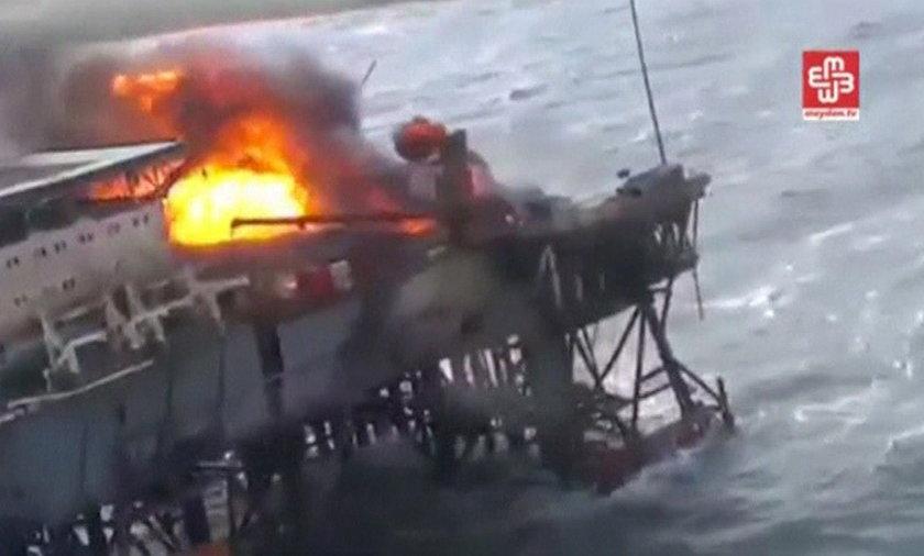 Pożar na platformie wiertniczej