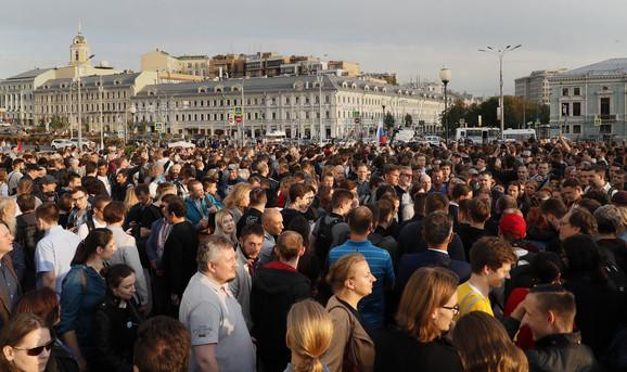 Protest ispred Dume 15. jula u znak podrške opozicionim kandidatima na parlamentarnim izborima u Rusiji
