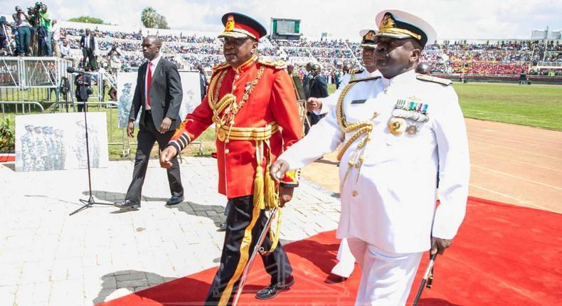 President Uhuru Kenyatta in the red military tunic