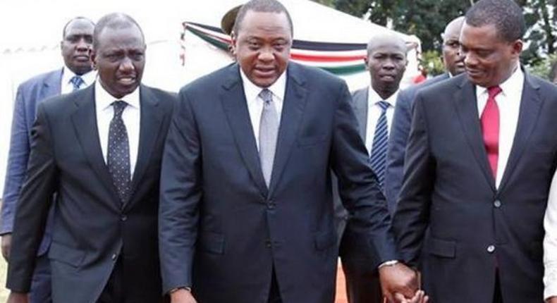 President Uhuru Kenyatta, his Deputy William Ruto and health CS Sicily Kariuki walk with National Assembly Speaker Justin Muturi