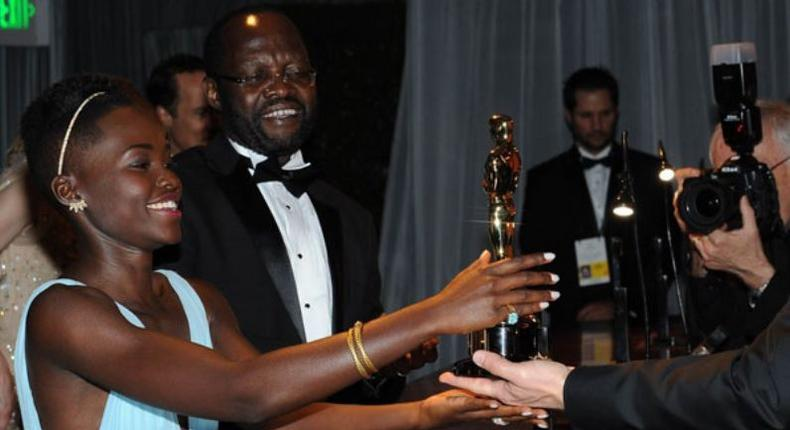 File image of Lupita Nyongo with her father Anyang Nyongo