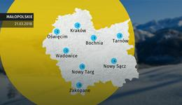 Prognoza pogody dla woj. małopolskiego - 21.03