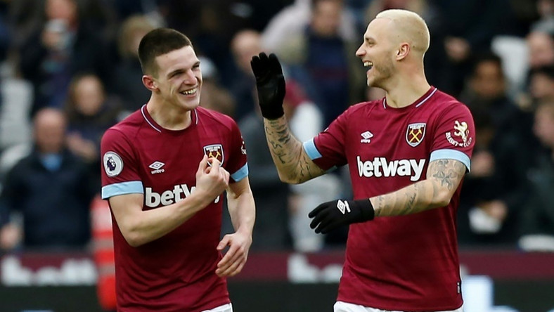 Declan Rice (left) celebrates with West Ham team-mate Marko Arnautovic after scoring the goal that downed Arsenal 1-0 at home