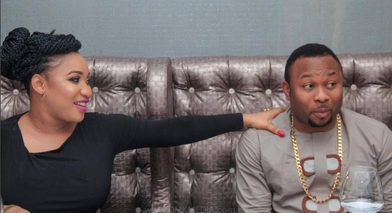 Tonto Dikeh and estranged husband, Churchill Olakunle Oladunni at her surprise birthday party.