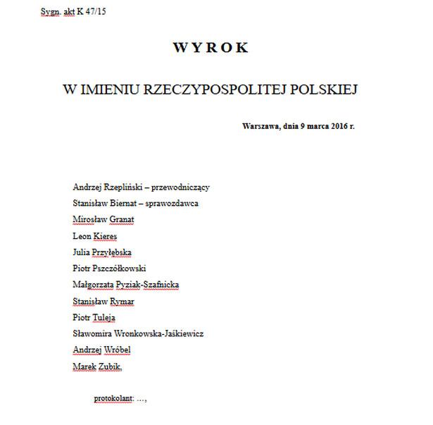 Komisja Wenecka zbada orzeczenie polskiego Trybunału Konstytucyjnego