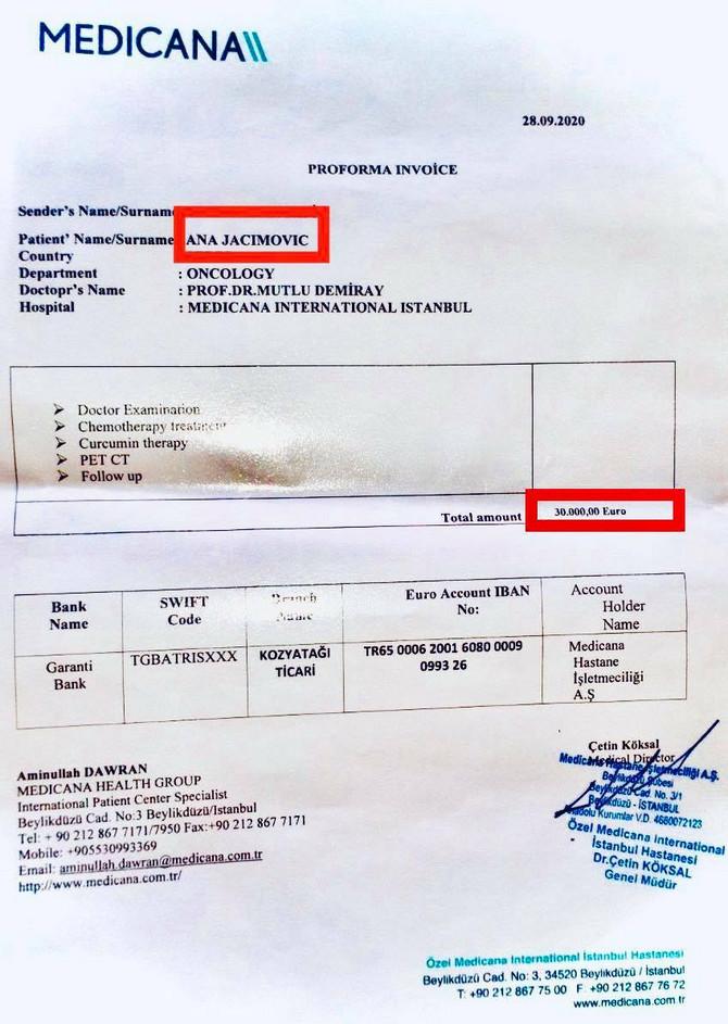 Izveštaj iz turske bolnice, foto: ustupljena fotografija