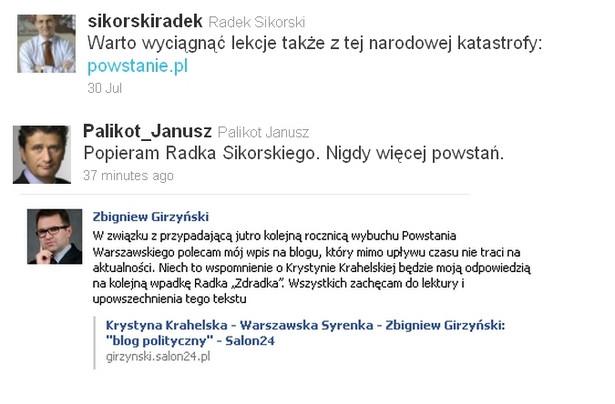 Wpis ministra Sikorskiego na temat Powstania Warszawskiego