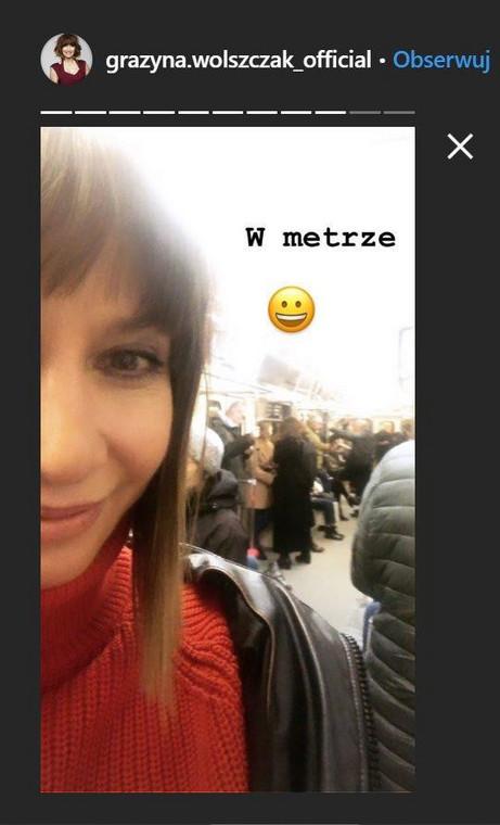 Grażyna Wolszczak w metrze