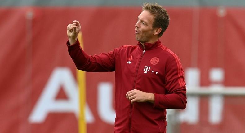 Bayern Munich head coach Julian Nagelsmann makes a point during training on Tuesday Creator: Christof STACHE