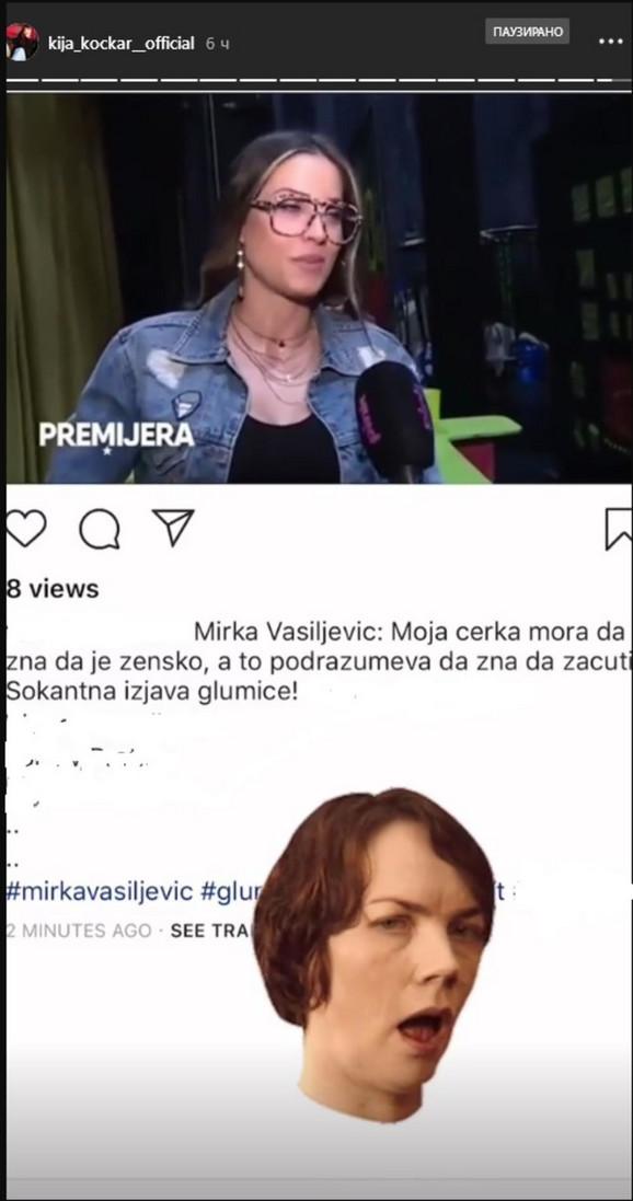 Kija Kockar šokirana rečima Mirke Vasiljević