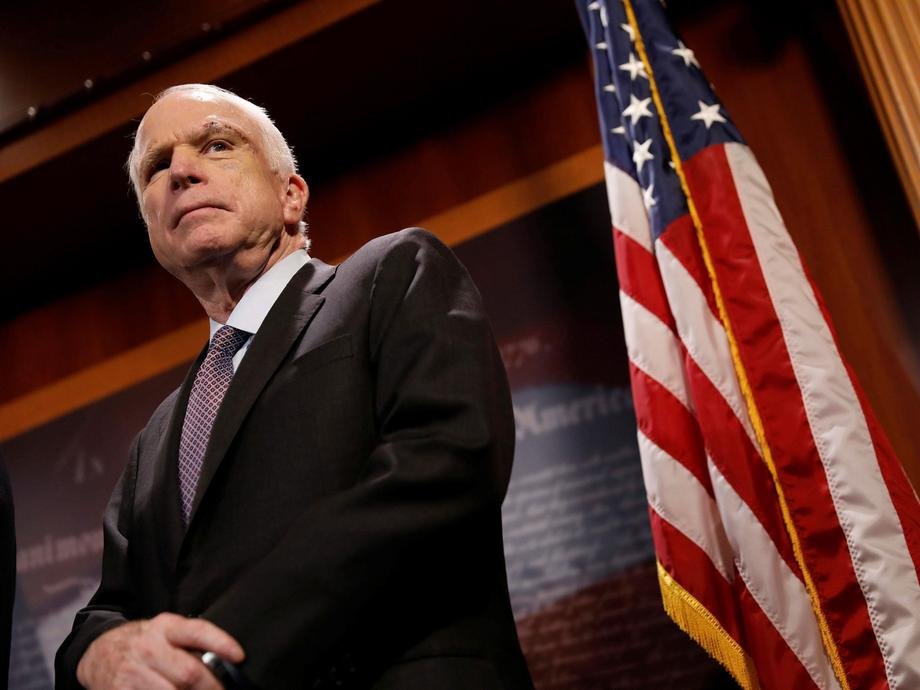 "Senator John McCain (R-AZ) looks on during a press conference about his resistance to the so-called ""Skinny Repeal"" of the Affordable Care Act on Capitol Hill in Washington"