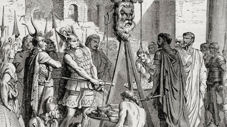 Brennus, wódz Senonów, w Rzymie
