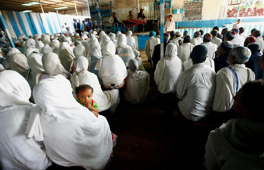 Members of the Falash Mura Jewish Ethiopian community attend a prayer service at the HaTikvah Synago
