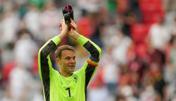 Manuel Neuer, wearing the rainbow-coloured captain's armband, after Germany's win over Portugal at Euro 2020 Creator: Matthias Schrader