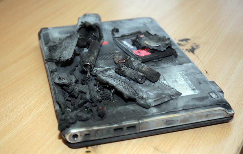 wybuch laptopa w szkole w Pabianicach