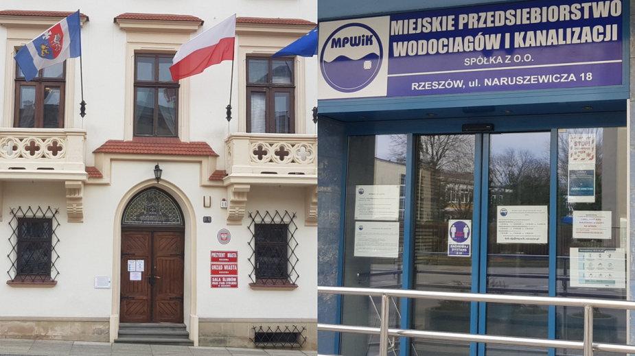 Po lewej urząd w Rzeszowie. Po prawie siedziba MPWiK